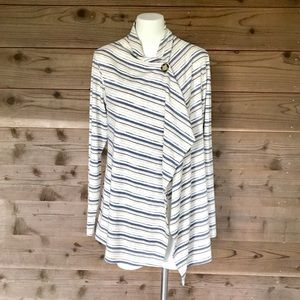 Bobeau Striped Single Button Long Sleeve Wrap Sz L